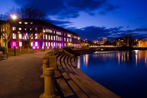 Derby at Night - Exeter Bridge from the River Gardens